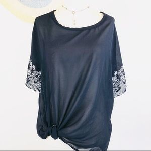 Democracy sheer knotted front top